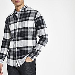 Only & Sons – Marineblaues, langärmeliges Hemd mit Karos