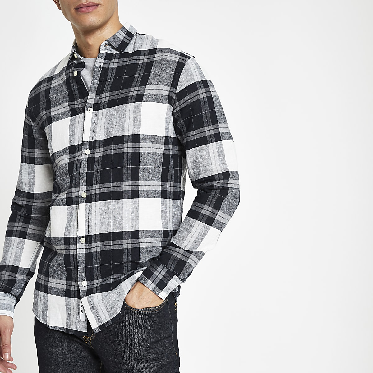 Only & Sons navy check long sleeve shirt