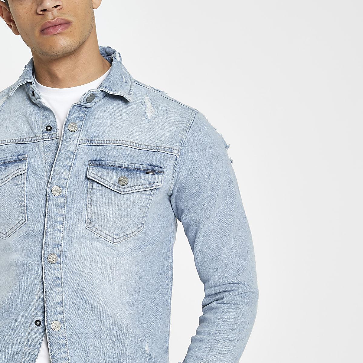 98049bb6fb1 Only   Sons blue denim overshirt - Long Sleeve Shirts - Shirts - men