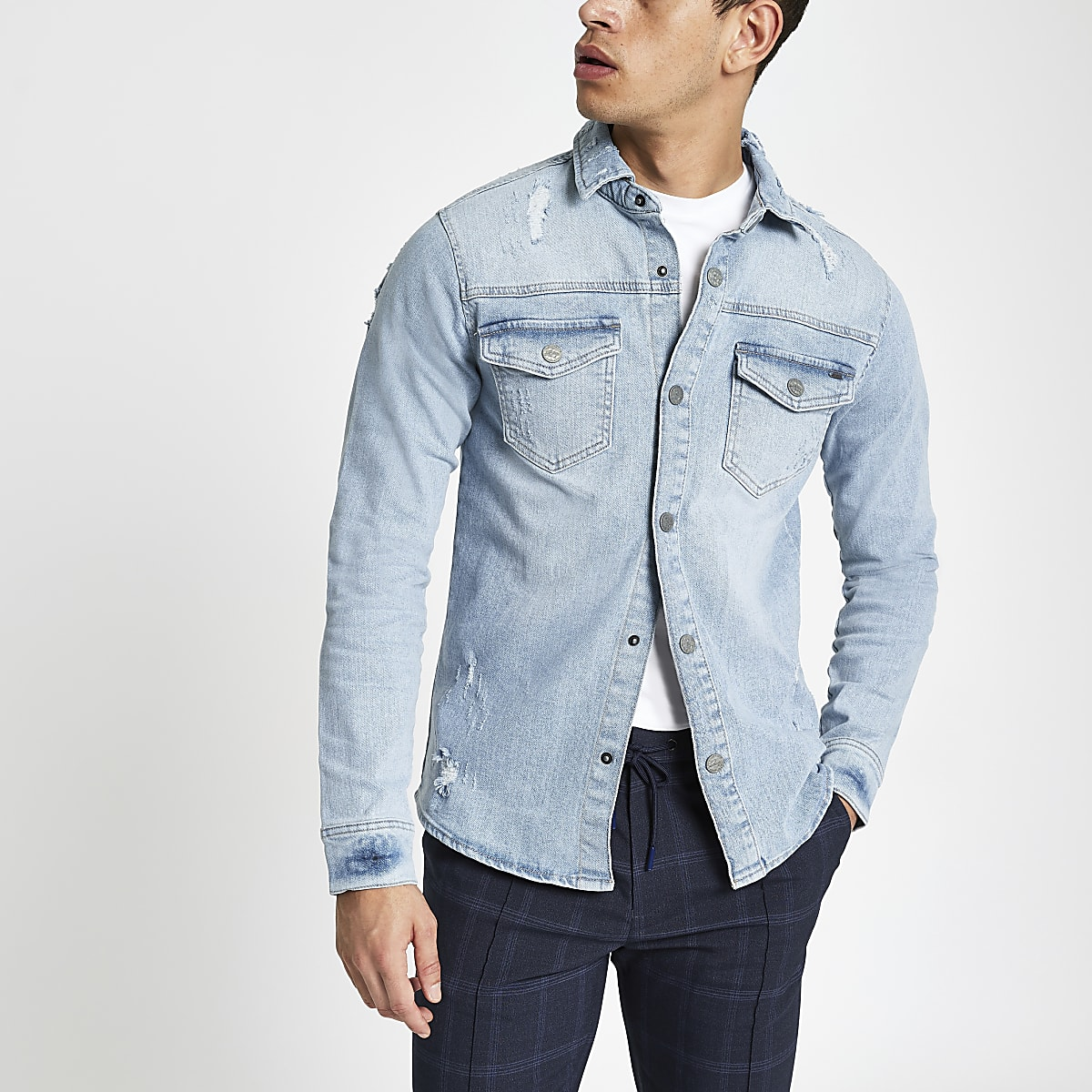 Only & Sons blue denim overshirt
