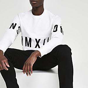 Only & Sons – Weißes, bedrucktes Sweatshirt