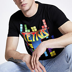 Only & Sons black 'Tetris' print T-shirt