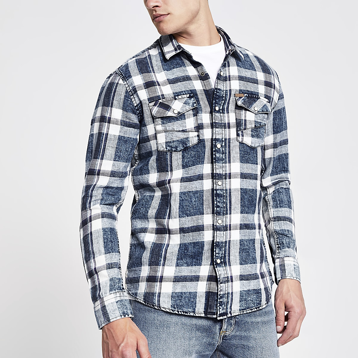 Only & Sons blue check slim fit shirt