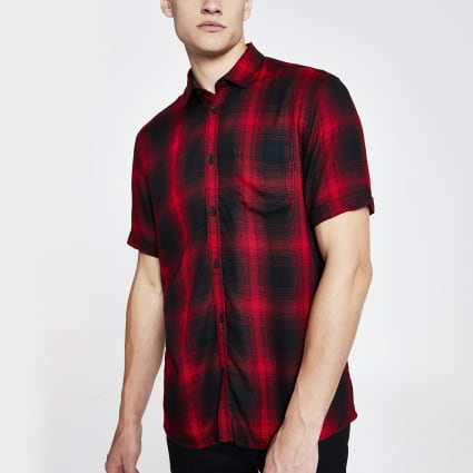 Only & Sons red check regular fit shirt