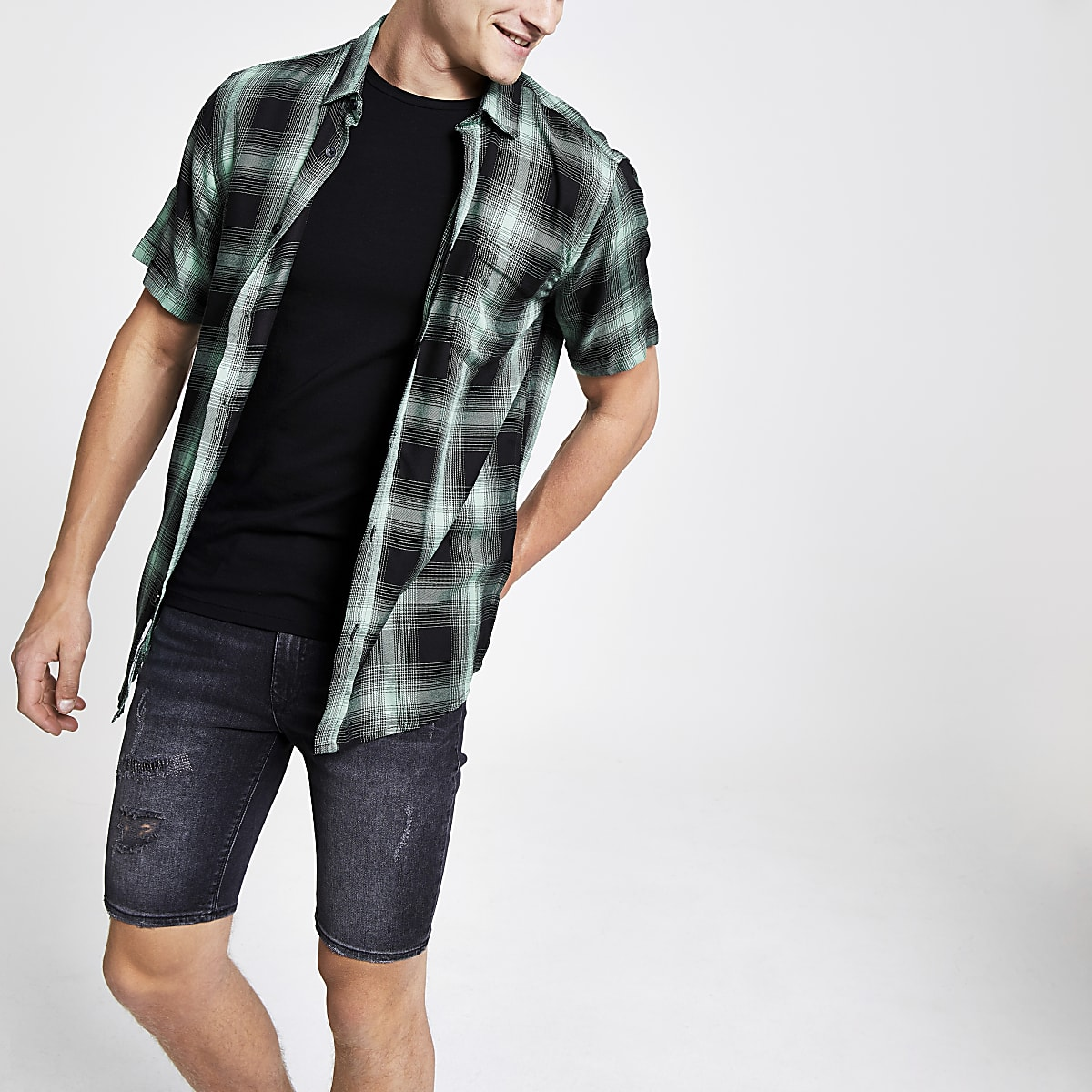 Only & Sons green check short sleeve shirt