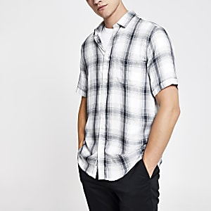 Only & Sons blue check short sleeve shirt