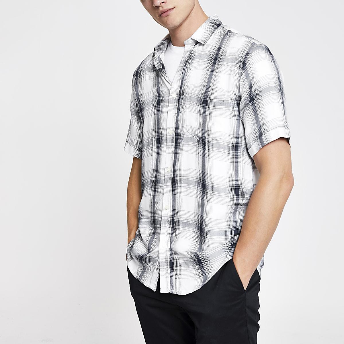 Only & Sons – Chemise manches courtes à carreaux bleue