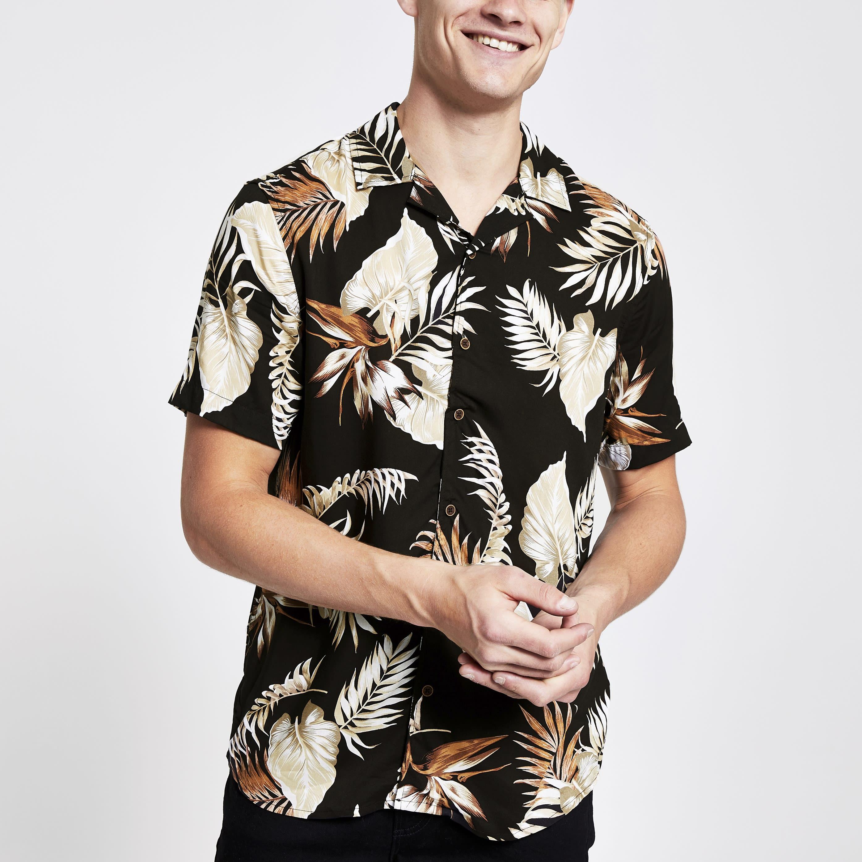RIVER ISLAND | Mens Only & Sons Brown tropical print shirt | Goxip