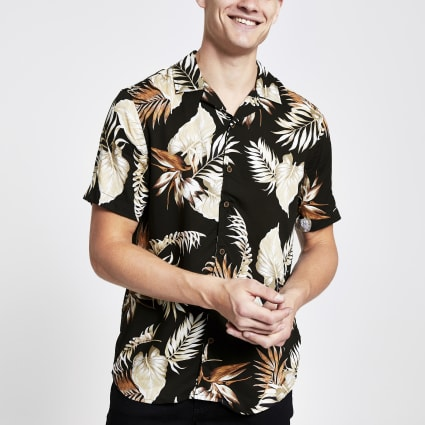 Only & Sons brown tropical short sleeve shirt