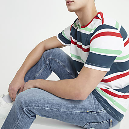 Only & Sons white multi stripe T-shirt