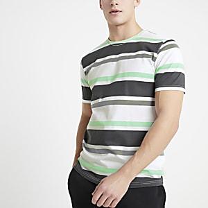 Only & Sons – Schwarzes T-Shirt mit Streifen