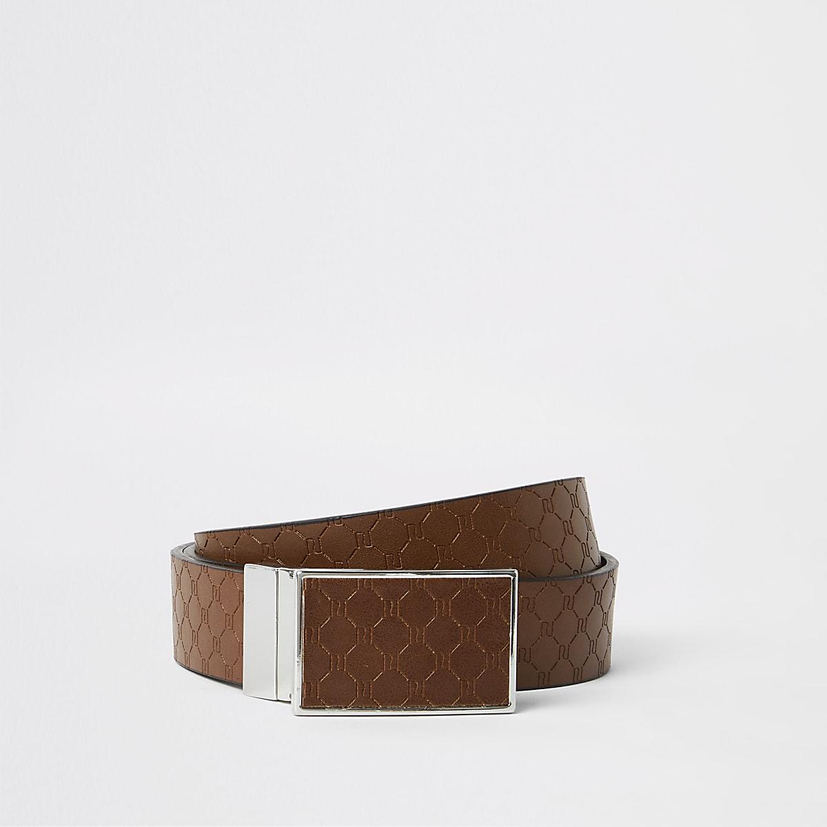 Tan monogram reversible plate buckle belt