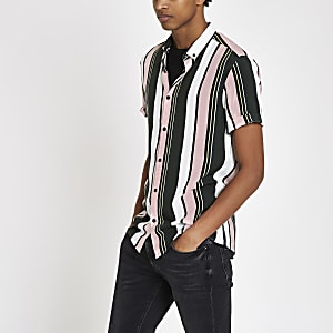 Green and pink stripe short sleeve shirt
