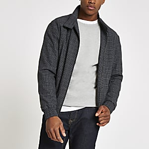 Selected Homme grey check Harrington jacket