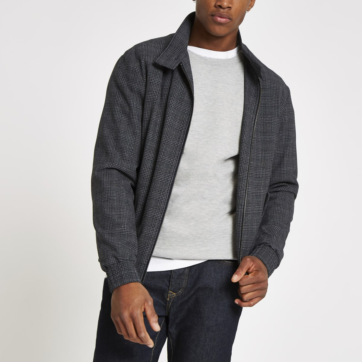 Selected Homme grey check Harrington jacket