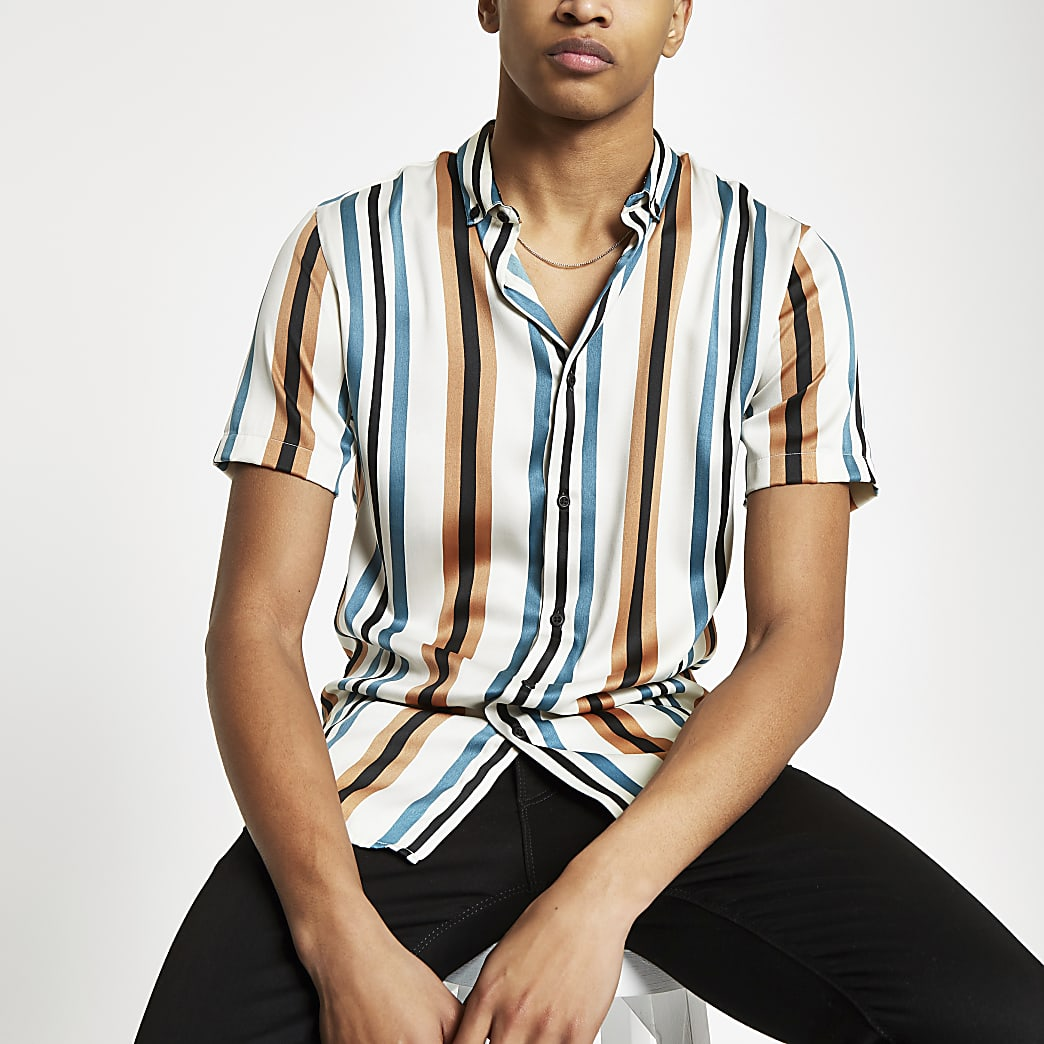 Ecru stripe slim fit satin shirt