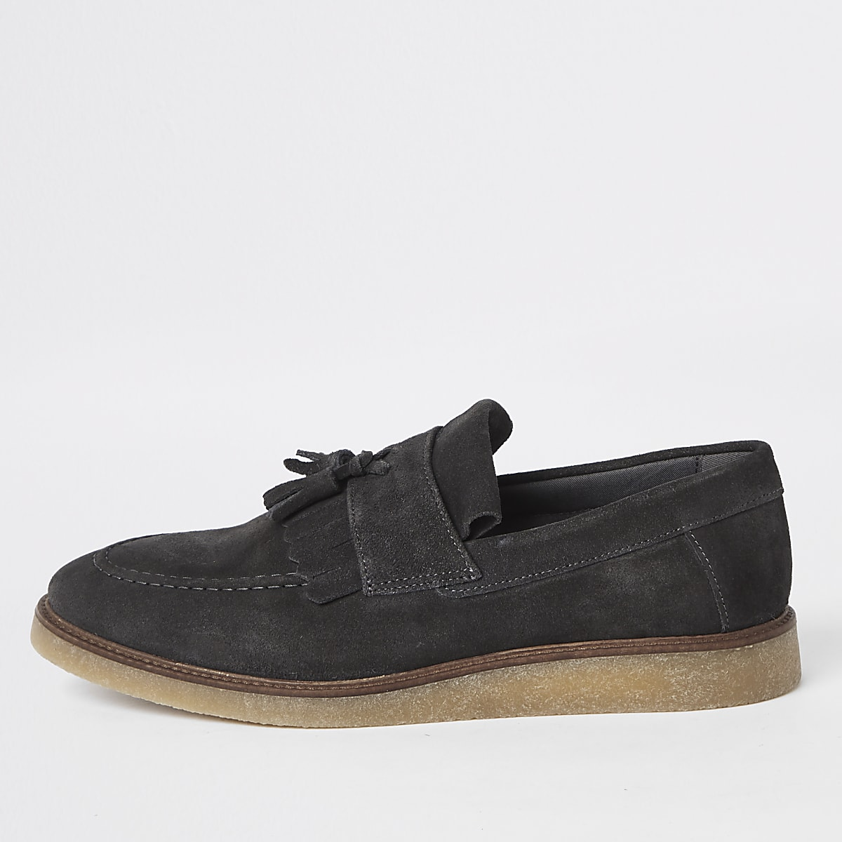 Dark grey suede fringe loafers