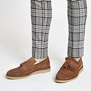 Tan suede fringe loafers