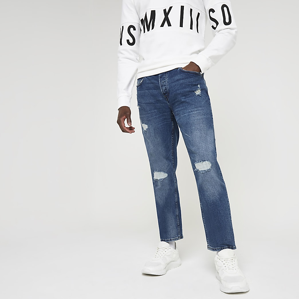 Only & Sons blue ripped slim fit jeans