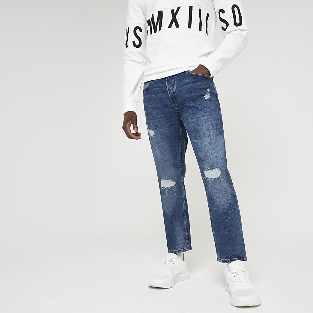 Only & Sons – Blaue Slim Fit Jeans im Used-Look