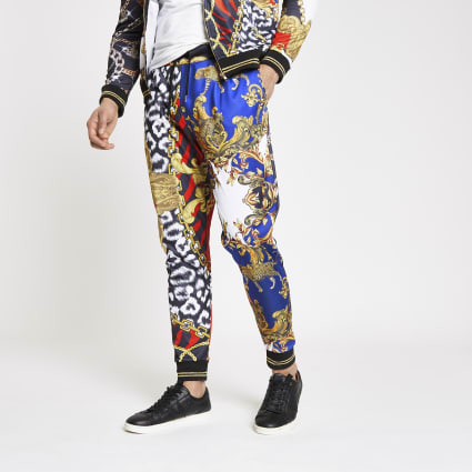 Jaded London red scarf print joggers