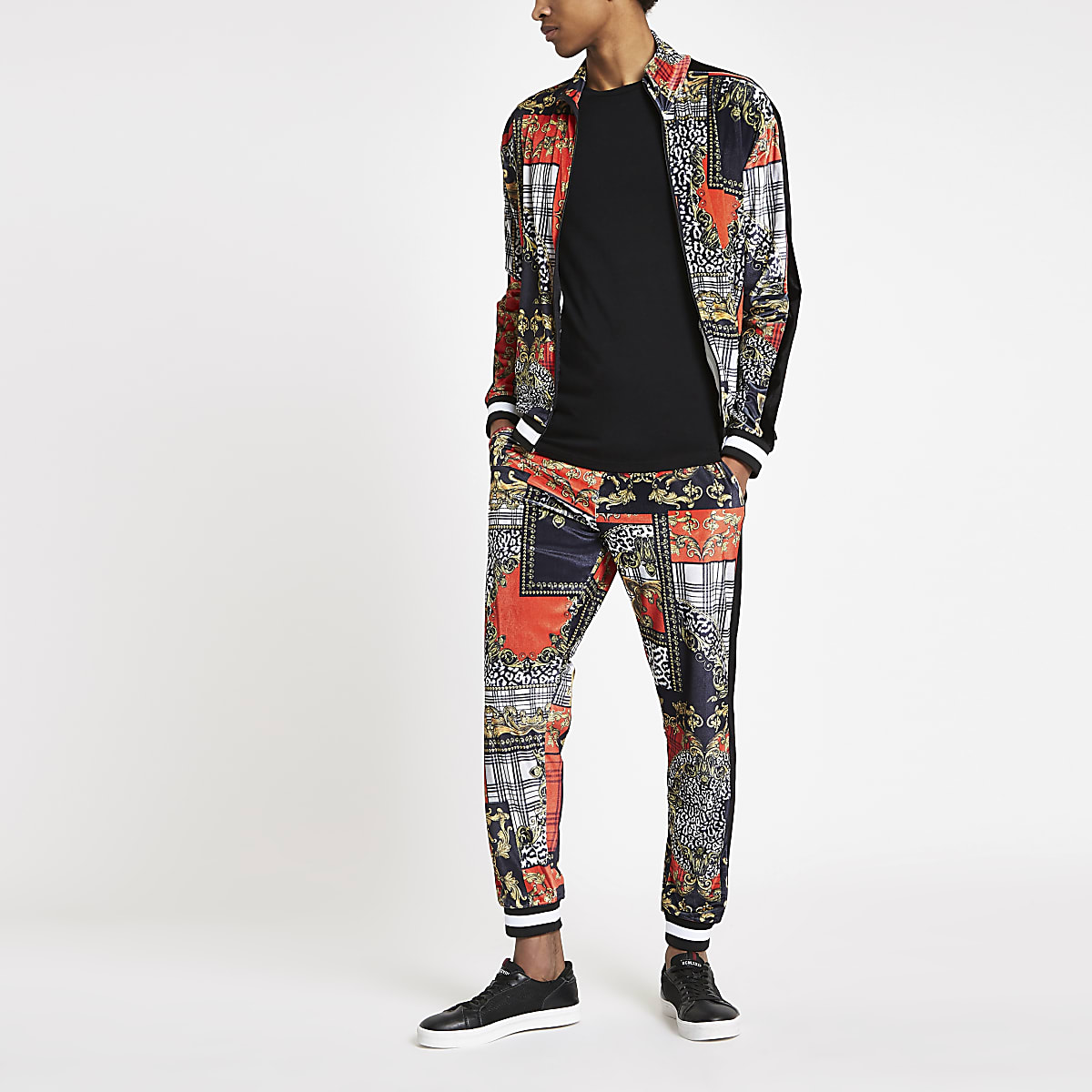 Jaded London red baroque joggers