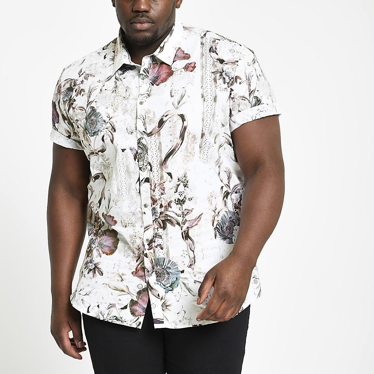Big and Tall – Chemise slim à fleurs écrue