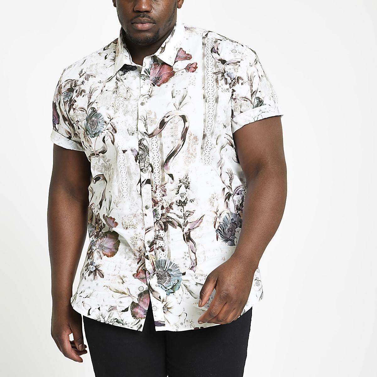 Big and Tall - Ecru slim-fit overhemd met bloemprint