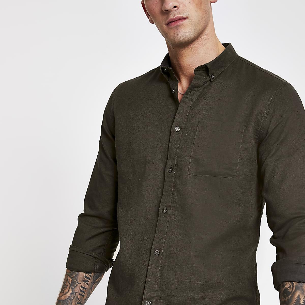 Khaki linen long sleeve shirt