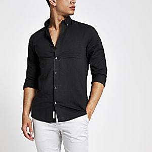 Schwarzes, langärmliges Leinenhemd