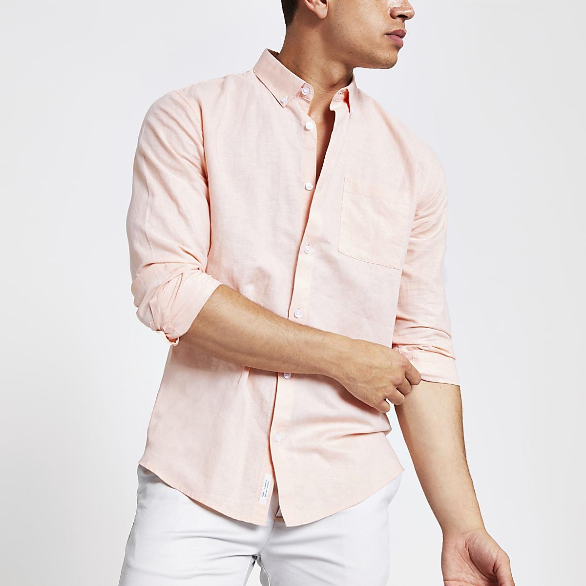 Orange linen chest pocket shirt