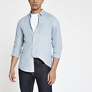 Blauw linnen overhemd met lange mouwen