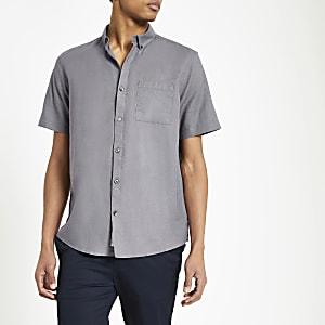 Grijs linnen overhemd met korte mouwen