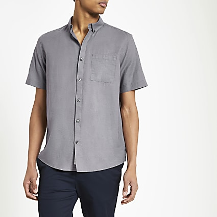 Grey linen short sleeve shirt