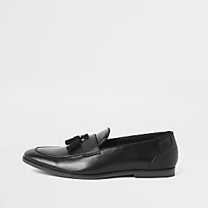 Black tassel front loafers