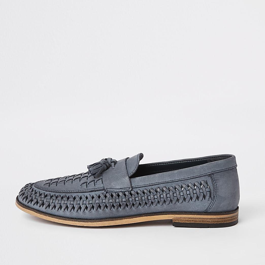 Blaue Loafer aus Leder mit Quaste
