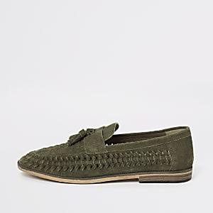 Loafer aus Wildleder in Khaki