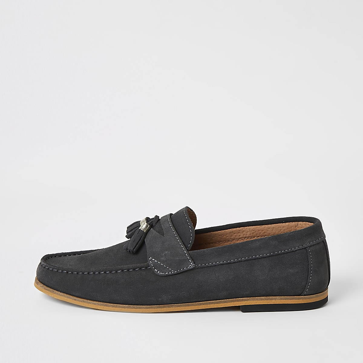 Burgundy suede woven tassel loafers