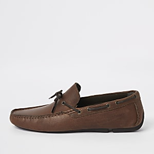Tan tumbled leather driving shoes