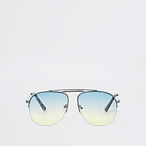 Pilotensonnenbrille in Silber und Grün