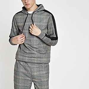 Grey check slim fit hoodie