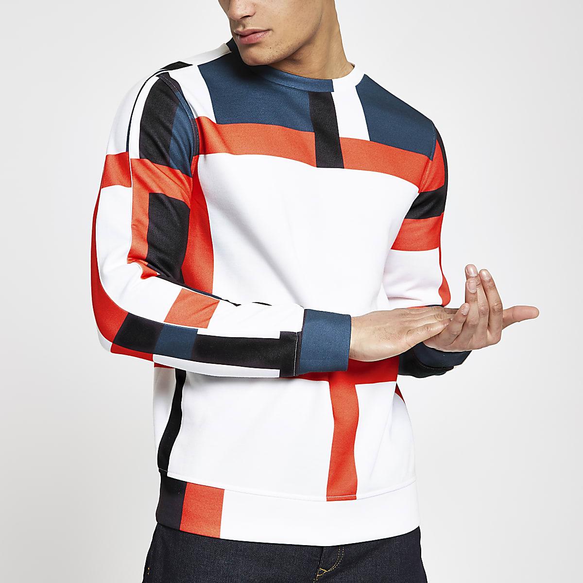 Blue block crew neck slim fit sweatshirt