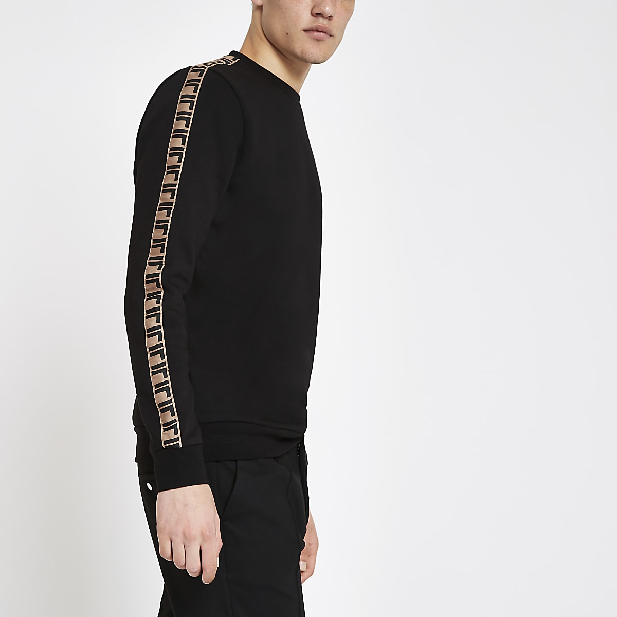 Black slim fit tape side sweatshirt
