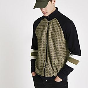 Veste de survêtement slim imprimé mosaïque noir à col cheminée