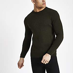 cfaa6452f05 Dark green cable knit muscle fit jumper