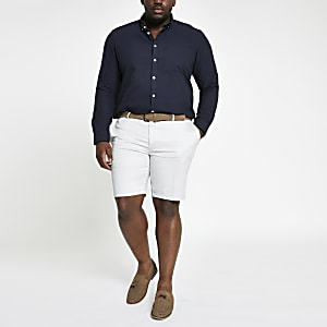 Big and Tall - Kiezelkleurige slim-fit chinoshort