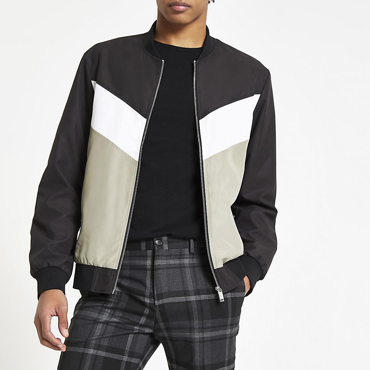 Black chevron bomber jacket