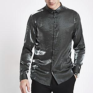 Grey slim fit metallic long sleeve shirt