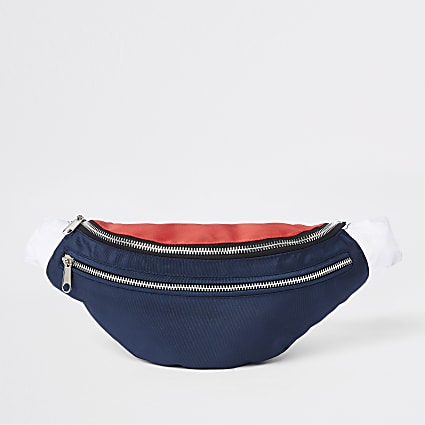 Navy Prolific double zip cross body bag