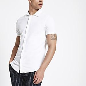 Weißes, kurzärmeliges Muscle Fit Piqué-Hemd